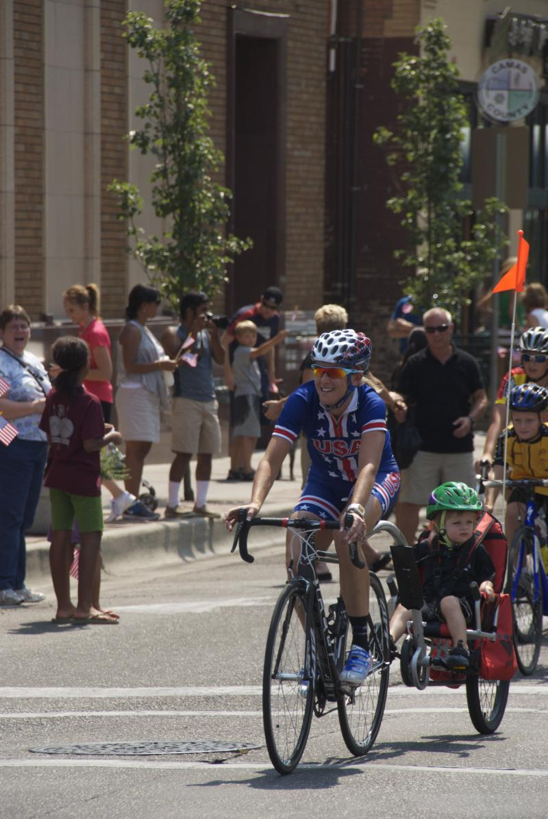 Olympic gold medal cyclist and Boise native Kristin Armstrong leads riders to a special celebration in downtown Boise Saturday.