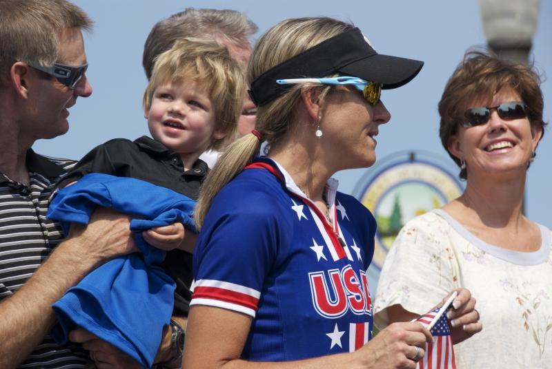 Kristin Armstrong with her husband Joe Savola and son Lucas.