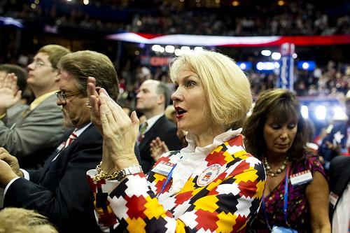 Ginger Howard, delegate from Georgia, claps during the opening night of the Republican National Convention on August 28.