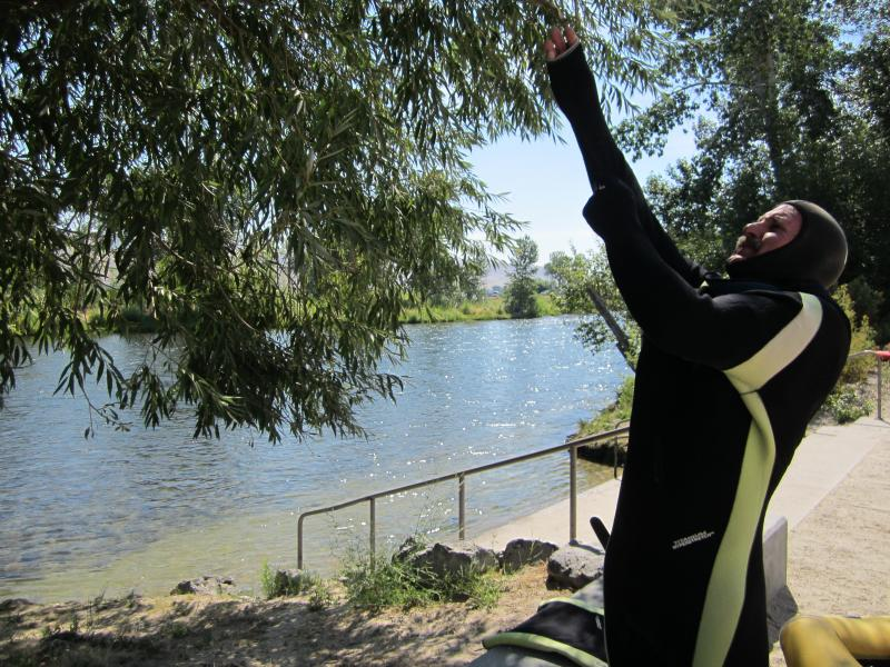 Nelson struggles to pull on his full-body wet suit on the 100-degree day, before plunging into the cold river.