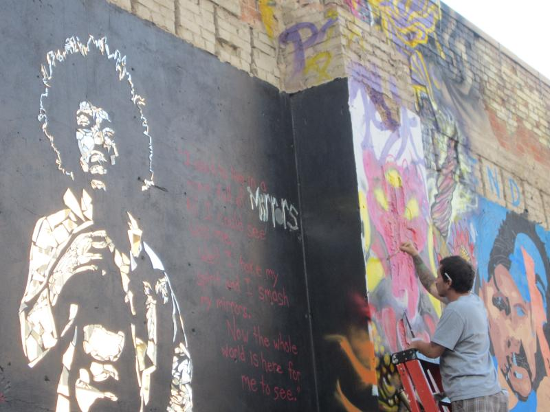 The same artists from Washington made this mirror mosaic of Jimi Hendrix last year.