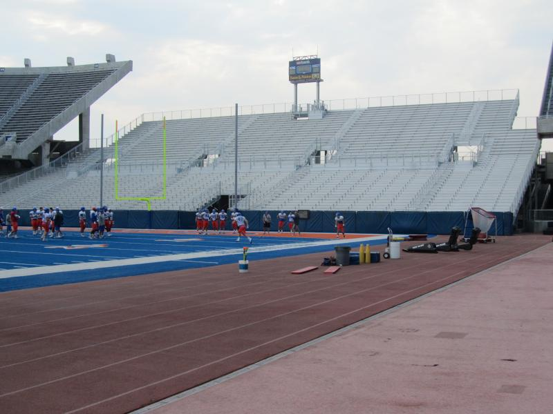 The new south end zone bleachers at Bronco Stadium on the Boise State campus.