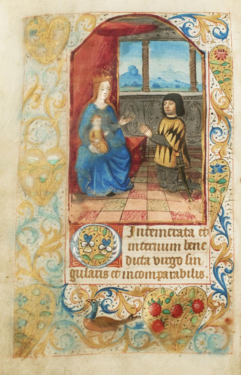 Miniature portrait of the owner of the manuscript, kneeling in prayer before the Virgin. From an illuminated Book of Hours, created in France around 1480.