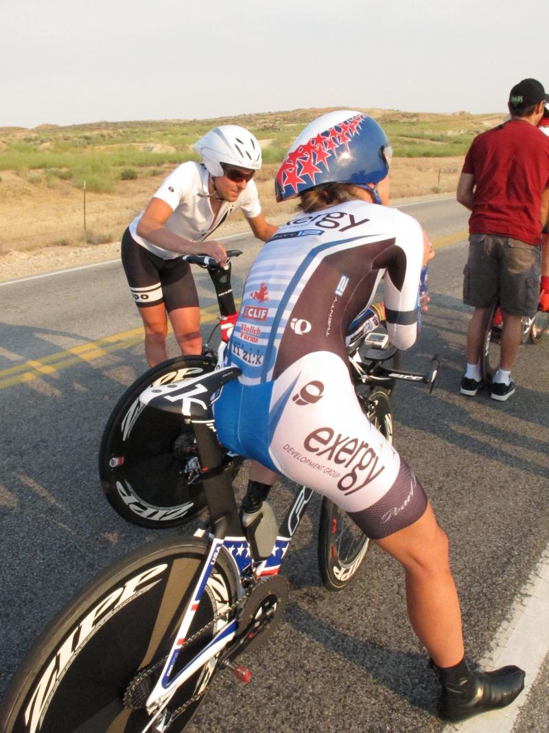 Olympic gold medalist Kristin Armstrong tests out her new time trial bike ahead of the London games. This bike and another one were stolen recently.
