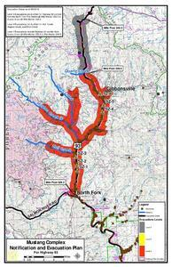 Evacuation map for the Mustang Complex fire near Salmon.