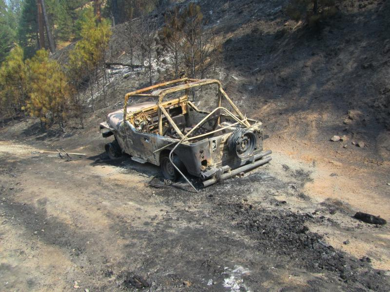 This old jeep was on the edge of the fires path.