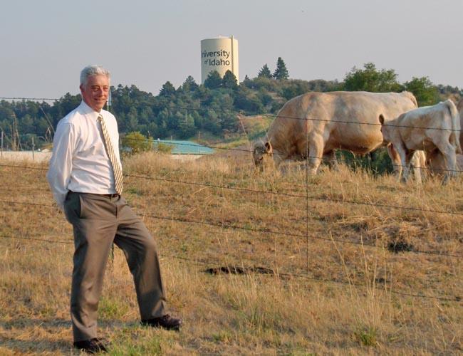 University of Idaho Professor Rod Hill and part of the university's purebred herd.