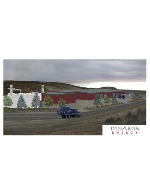 An artist's rendering of the planned Dynamis Energy plant at the Ada County landfill.