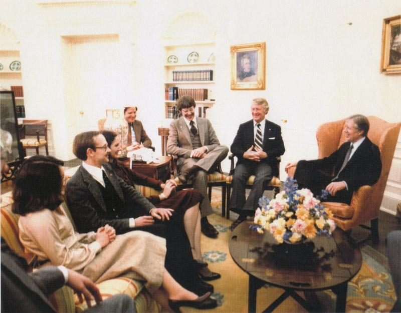 The houseguests sit in the Oval Office with President Carter.
