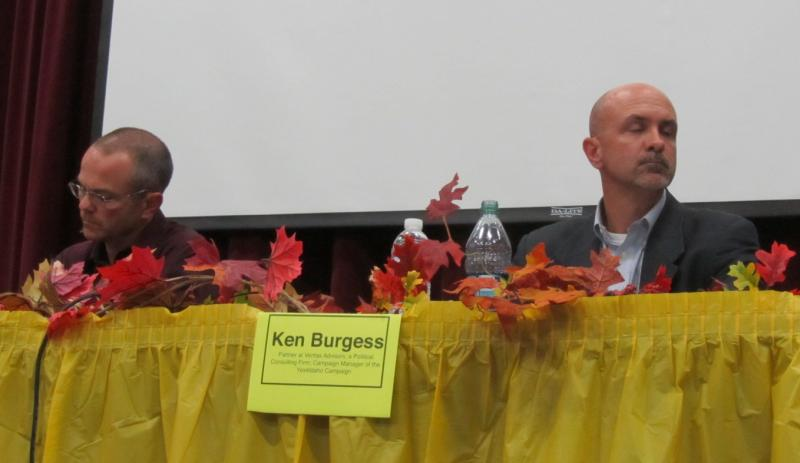 Mike Lanza (left) and Ken Burgess, who head opposite campaigns on Props 1, 2, 3 were placed next to each other at a panel discussion Monday.