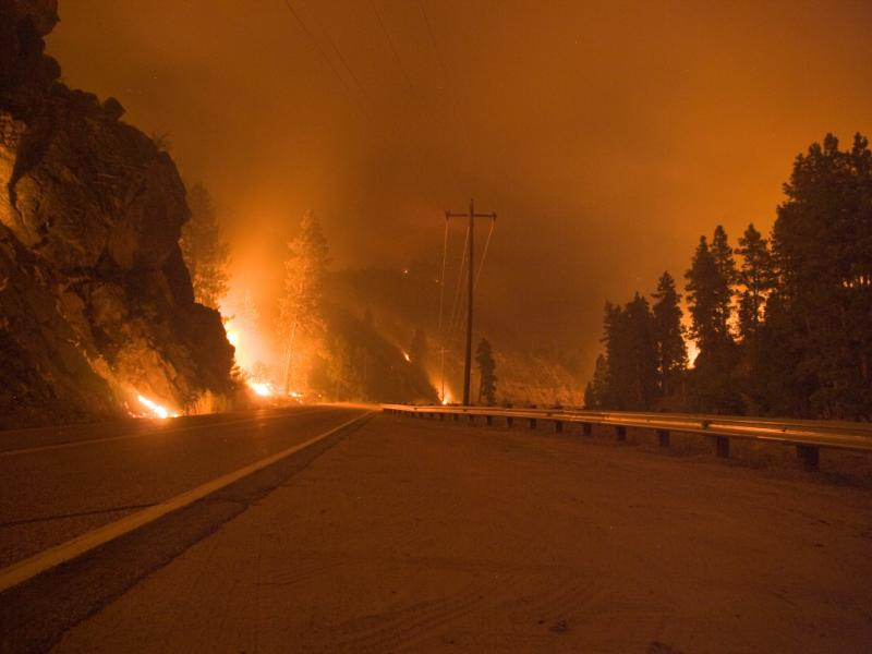 The Springs Creek Fire burning next to Hwy 55 this summer.