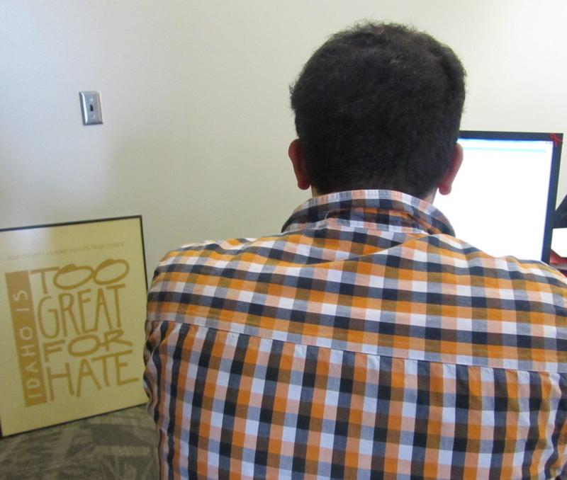 Mario works on a project in Boise State's Student Union Building. He fears being harassed for his opinion on affirmative action and asked that we not reveal his last name.