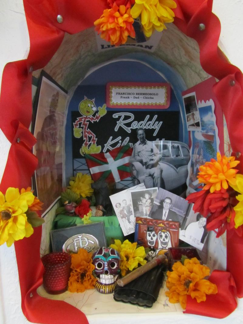 Colorful displays commemorating dead relatives and friends is a tradition in Central America during Dia De Los Muertos.