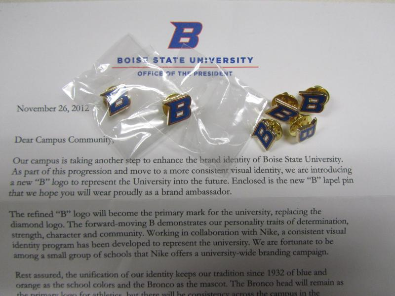 Boise State employees received letters this week announcing the new logo. Each contained a lapel pin of the new B.