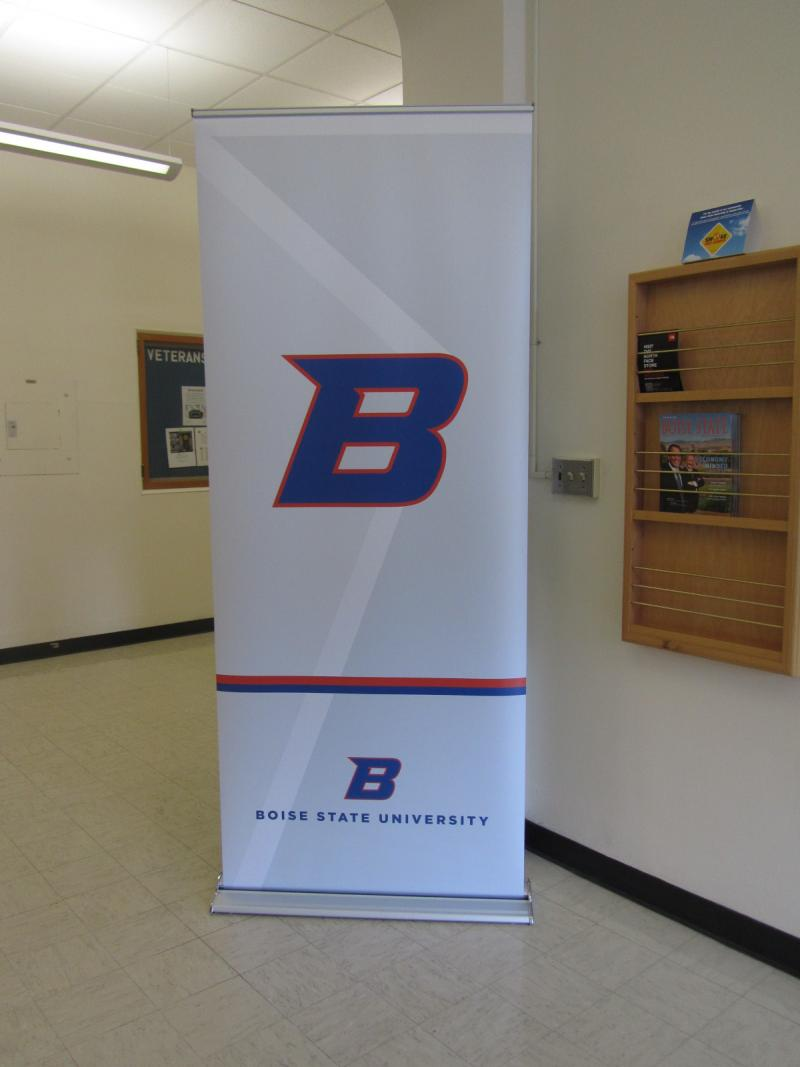 "As soon as the announcement was made the new ""forward moving B"" logo appeared all over campus in temporary banners and door decals."