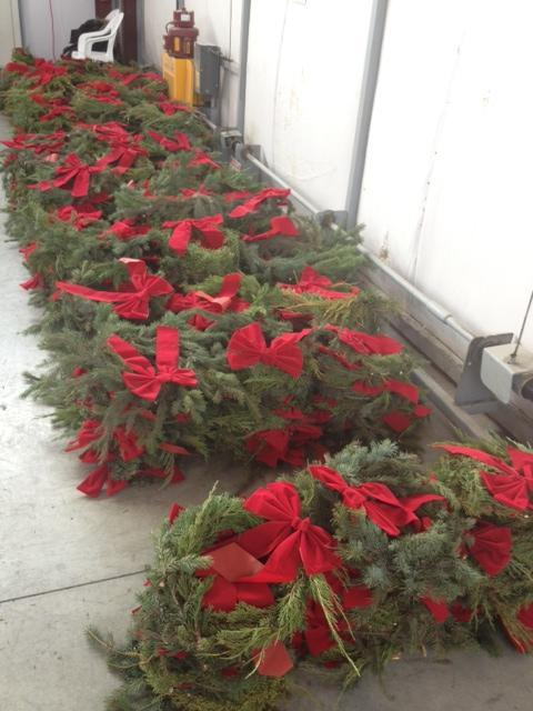 Some of the 2,000 wreaths that cover veterans' graves this holiday season.