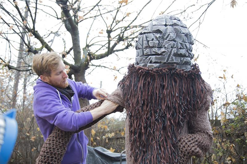 Daniel Fo dressing actor Yurek Hansen as the Treefort monster.