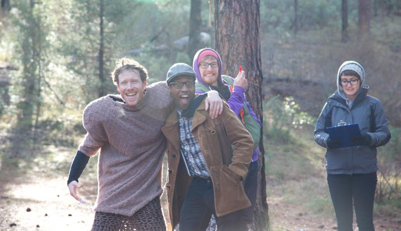 Actors and crew (from left) Yurek Hansen, Dakotah Brown, Daniel Fo and Willow Socia in between takes.