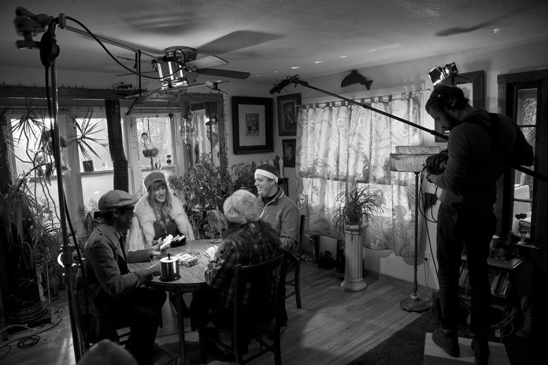 Actors Dakotah Brown, Bronwyn Leslie, Jake Smith and Anne McDonald on set.
