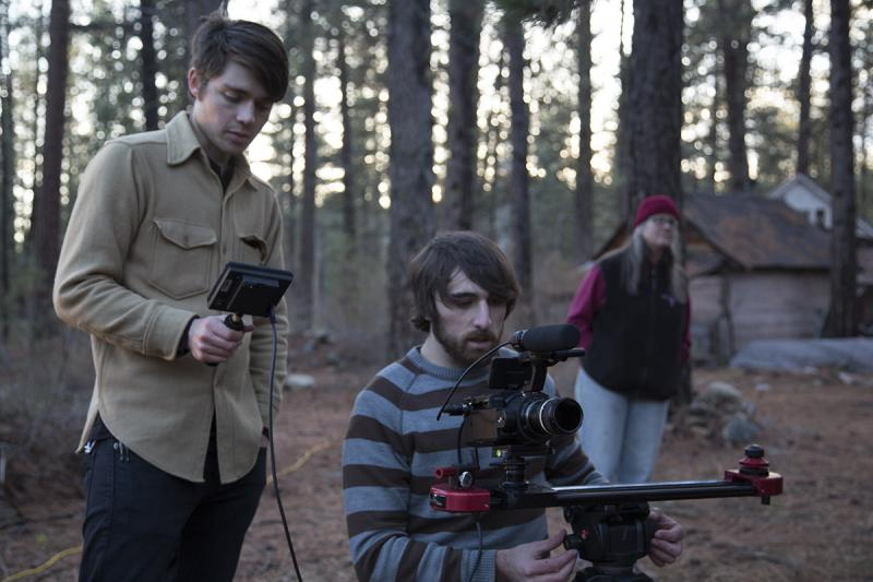 (from left) Director Zach Voss, Cody Gittings on set.