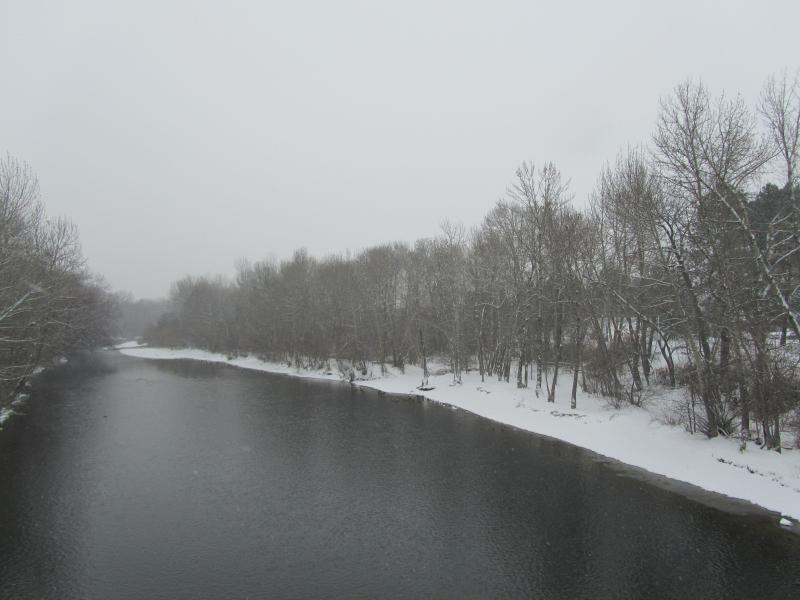 Snow on the banks of the Boise River.