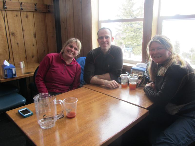 Nanette Meyers, Hans Germann and Jessica Cortright enjoy the clear skies and clean air in the Pioneer Lodge.