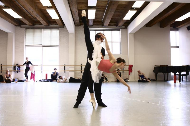 Lead dancers Adrienne Kerr and Andrew Taft rehearse Don Quixote.