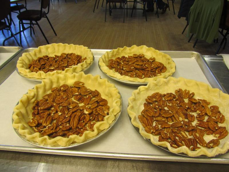 The pecans await their filling