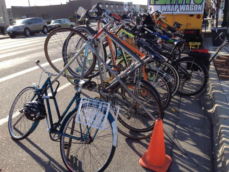 Car parking was a challenge near venues at Treefort, so bikes were the preferred mode of transportation.