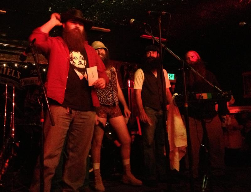 "Contestants compete for the title of best ""Full Beard."" Luke Tichinin, second from right, won this category as well as ""Best Beard Overall."""