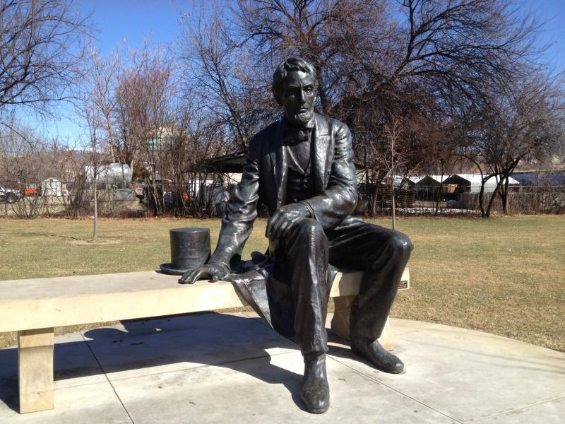 President Lincoln statue outside the Idaho Historical Museum.
