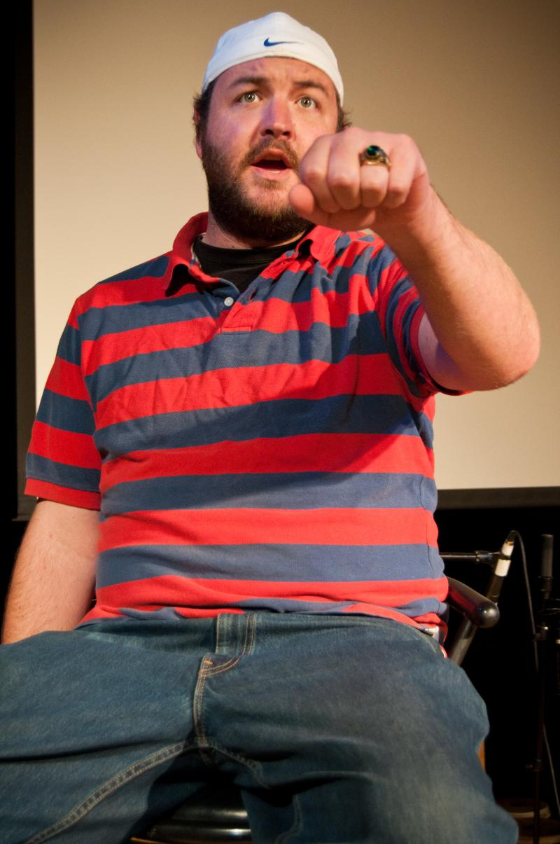 Aaron Kiefer directed the show and plays an ex football star. It's the only character reprised from the first Voices play.