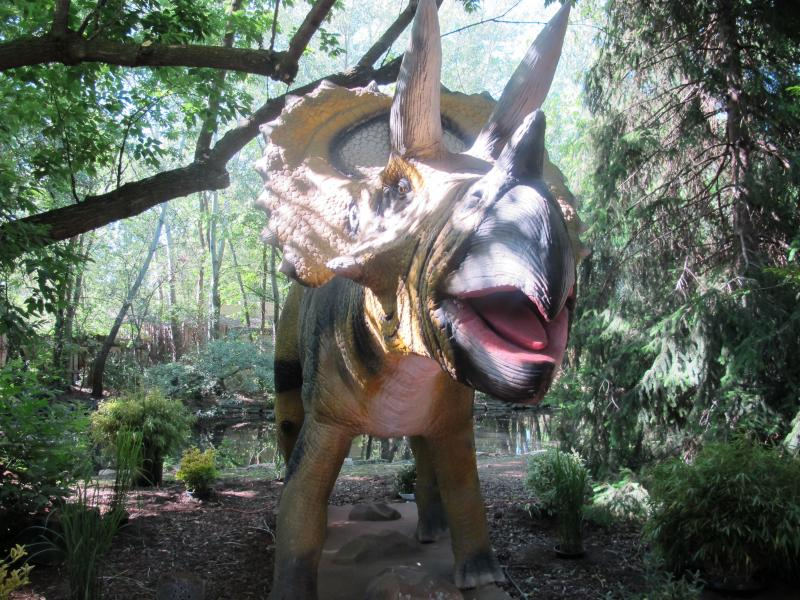 Eight robotic dinosaurs are hidden around the zoo.