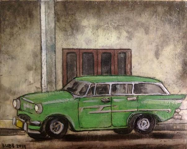 Karen Bubb has several paintings of cars she saw while in Cuba.