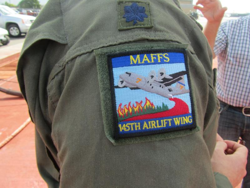 A patch on the shoulder of Lt. Col. Kevin Harkey of the North Carolina Air National Guard.
