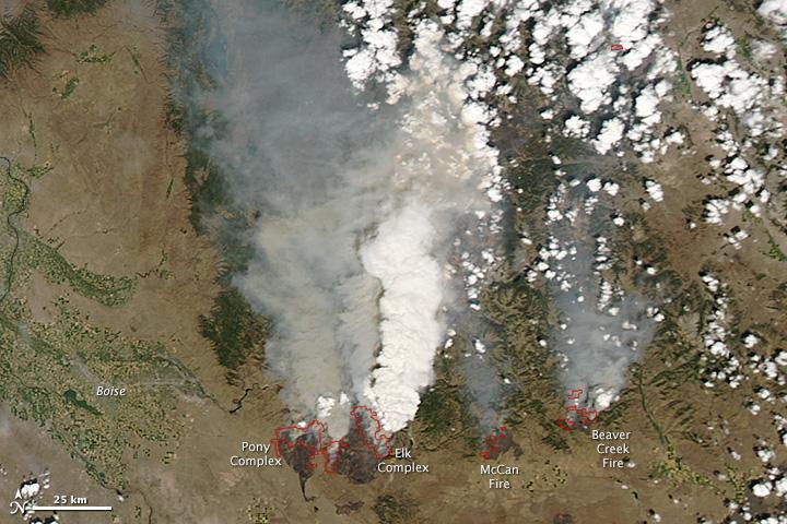 wildfires, satellite image
