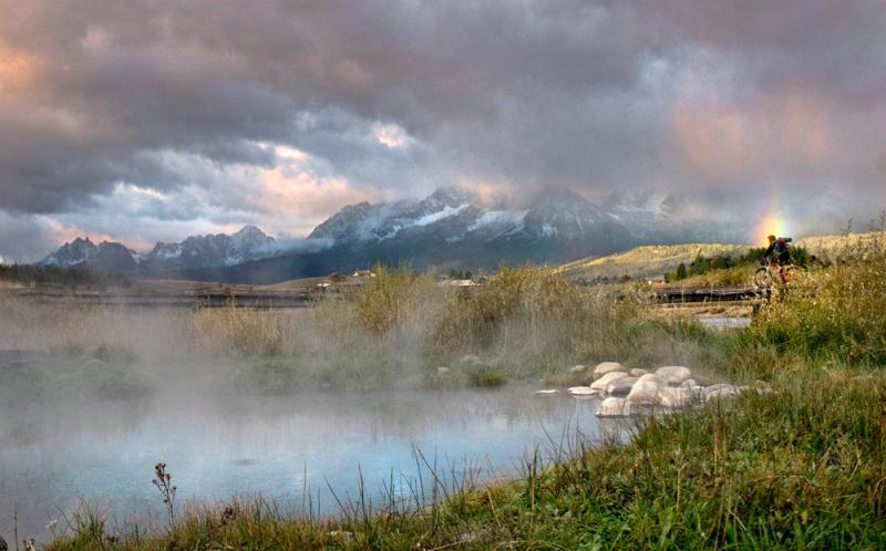 Late September snow in the Sawtooths call for an early morning soak at Snakepit Hot Springs.