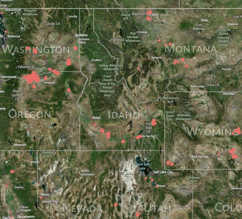 Interactive Map Pinpoints Idaho US Wind Turbines Boise State - Wind farms in the us map