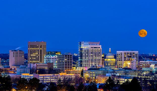 Boise, downtown, city, moon