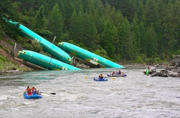 transportation, river, train derailment