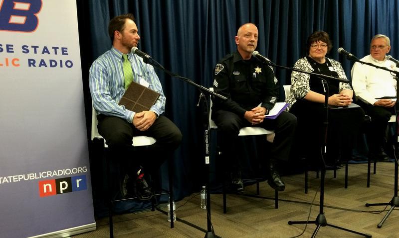Panelists Ross Edmunds, Sgt. David Cavanaugh, Tami Jones, and Rev. Bill Roscoe.
