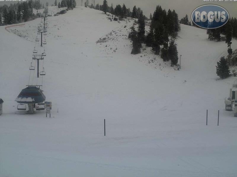 Current conditions at the bottom of Deerpoint as pictured from the Bogus Basin webcam.