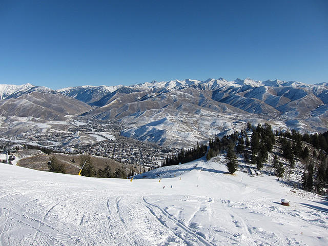 This is a skier's view from Ketchum's Bald Mountain.