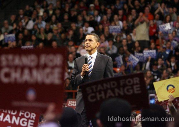 Barack Obama, then a candidate for president, last spoke in Boise on Feb. 2, 2008.