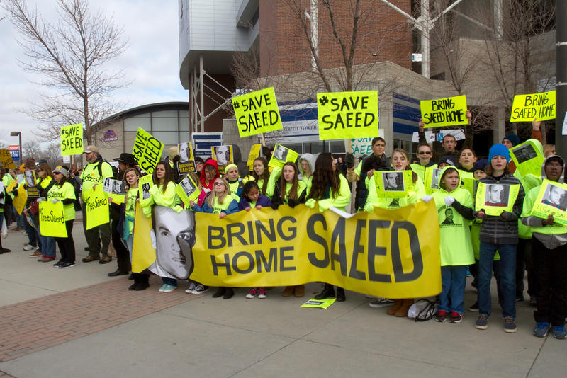 Supporters of Pastor Saeed Abedini rallied outside the Caven-Williams Sport Complex before President Obama spoke. Naghmeh Abedini got the chance to meet with the president briefly before.