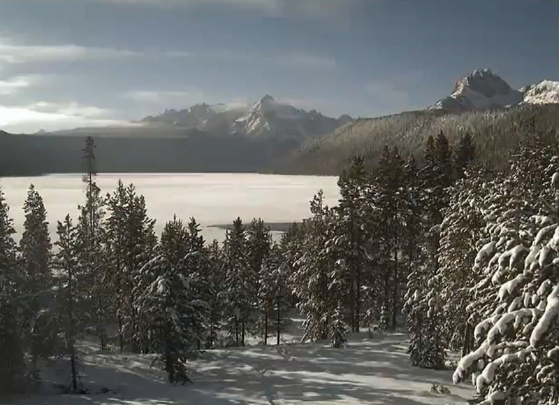 The view from the webcam at the Sawtooth Interpretive and Historical Association. The camera caught the freeze on Redfish Lake in late December.