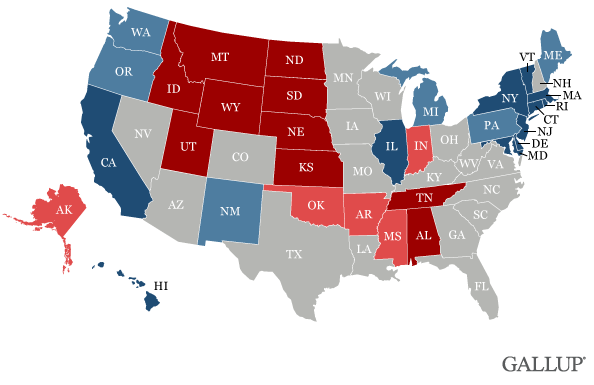 This map from Gallup shows the upper west-central part of the country is GOP dominated.
