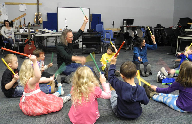 Warren Barnes teaches music at Basin Elementary and Idaho City High School. Barnes works with this preschool class during his prep period.