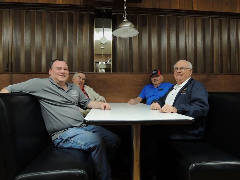"Shriners Corey Turner, Ron Lester, Joe Randall and Mike Mastrapaolo (L to R) relax in a booth at the downstairs ""Oasis"" bar at the El Korah."