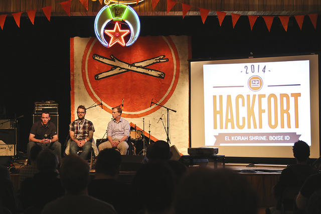 Technology experts talk shop at a panel during the first Hackfort in March 2014. The event is part of the annual Treefort Music Fest.